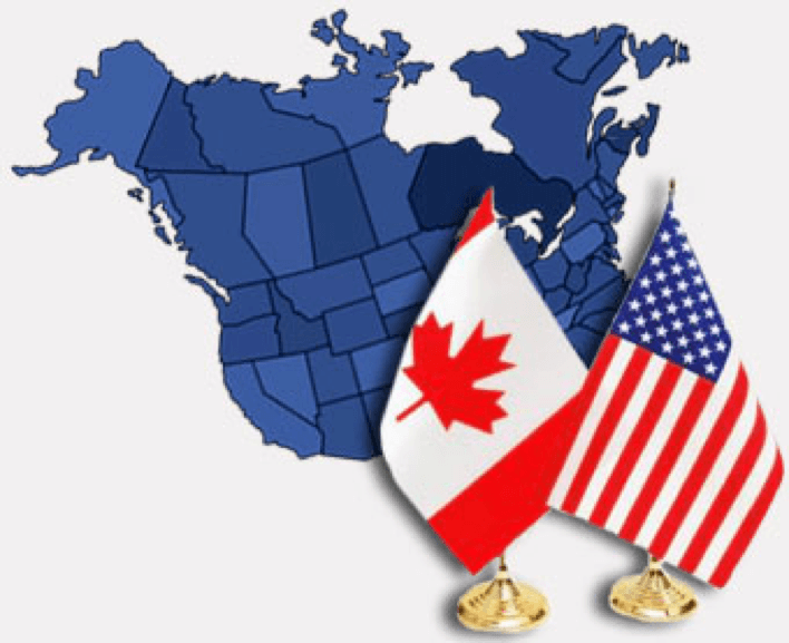 Moving from USA to Canada - map with both flags